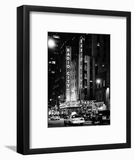 Radio City Music Hall and Yellow Cab by Night, Manhattan, Times Square, NYC, USA-Philippe Hugonnard-Framed Photographic Print
