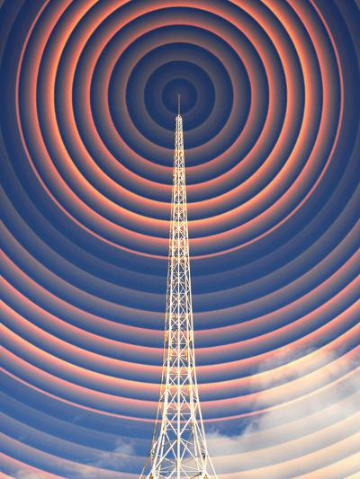 Radio Mast with Radio Waves-Mehau Kulyk-Photographic Print