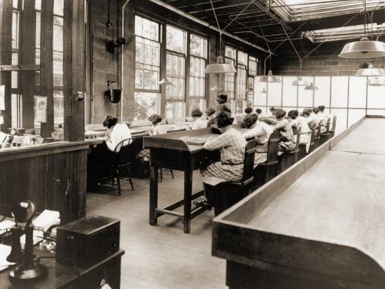 Radium Girls Work in a Factory of the United States Radium Corporation. C.1922--Photographic Print