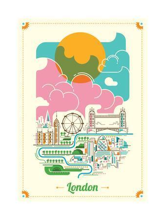 London Illustration in Color. Vector Illustration.