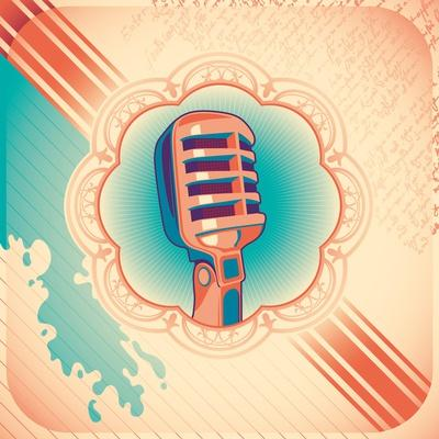 Vintage Poster with Microphone. Vector Illustration.
