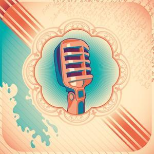 Vintage Poster with Microphone. Vector Illustration. by Radoman Durkovic