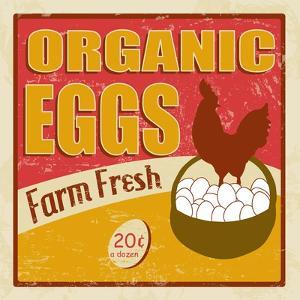 Organic Eggs Vintage Poster by radubalint