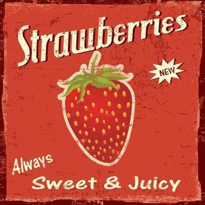 "Kim Lewis /""Strawberries /"" Poster Print  Image Size 12/"" x 12/"""