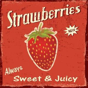 Strawberry Vintage Poster by radubalint