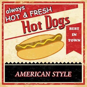 Vintage Hot Dog Grunge Poster by radubalint
