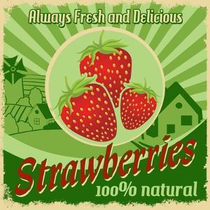 Vintage Poster For Strawberries Farm by radubalint