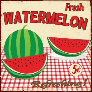 Watermelon Vintage Poster by radubalint