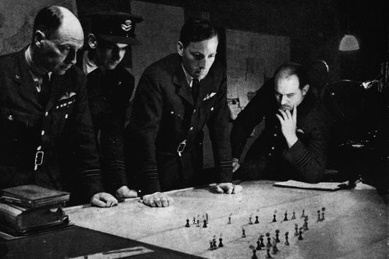 RAF Bomber Command operations room during a raid, 1941-Unknown-Photographic Print