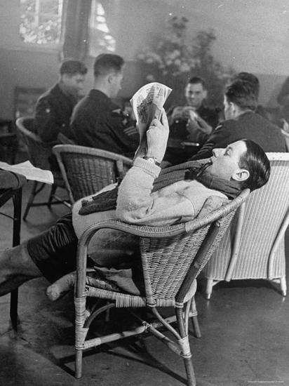 RAF Pilots Relaxing at a Rehabilitation Center-Hans Wild-Photographic Print