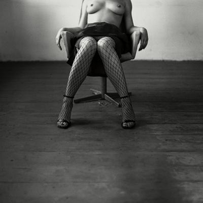 Pentacon Six Camera Shot of Topless Woman in Fishnet Stockings by Rafal Bednarz