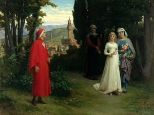 First Meeting of Dante and Beatrice, 1877 by Raffaelle Gianetti