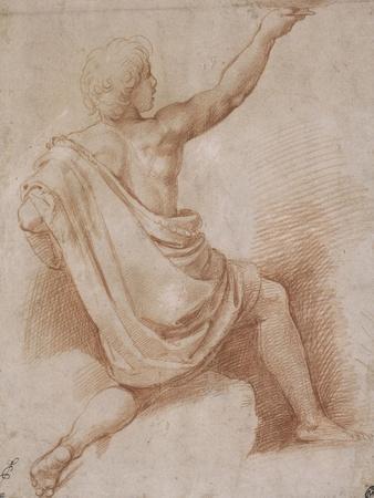 Jeune homme drapé, à demi agenouillé, vu de dos, présentant une coupe