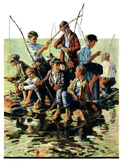"""Raft Fishing,""July 30, 1927-Eugene Iverd-Giclee Print"