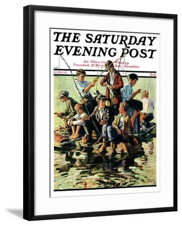 """Raft Fishing,"" Saturday Evening Post Cover, July 30, 1927-Eugene Iverd-Framed Giclee Print"