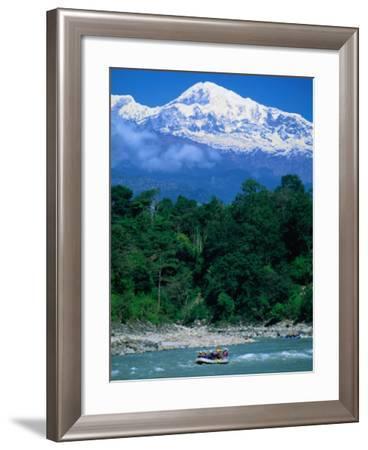 Raft Floating on Lower Section on Marsayangdi River Below the Annapurnas, Gandaki, Nepal-Anders Blomqvist-Framed Photographic Print