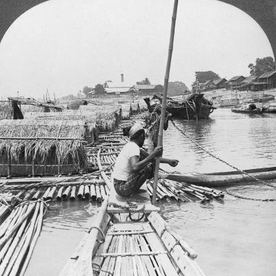 Rafts on the Irrawaddy River, Mandalay, Burma, 1908--Photographic Print