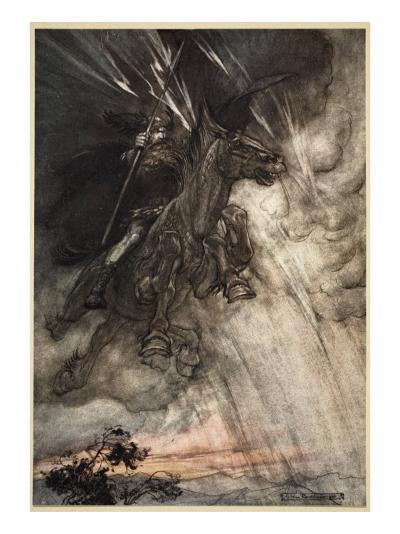 Raging, Wotan Rides to the Rock!, frontispiece from 'The Rhinegold and the Valkyrie'-Arthur Rackham-Giclee Print
