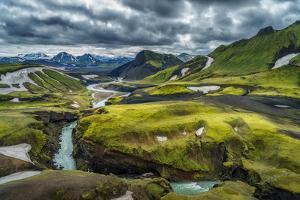 The Emstrua River, Thorsmork with the Krossarjokull Glacier in the Background, Iceland by Ragnar Th Sigurdsson
