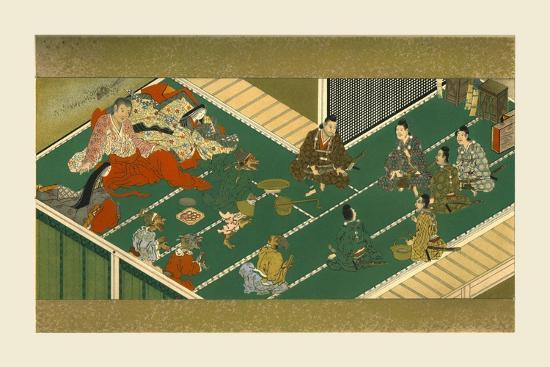 Raiko and his comrades before the demon robber, 17th century, (1886)-Unknown-Giclee Print