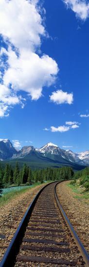 Rail Road Tracks Banff National Park Alberta Canada--Photographic Print