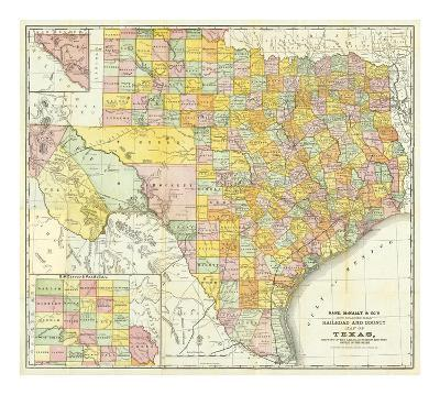 Railroad And County Map Of Texas, c.1882--Art Print