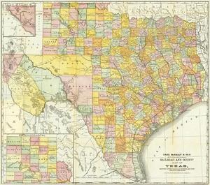 Railroad And County Map Of Texas, c.1882