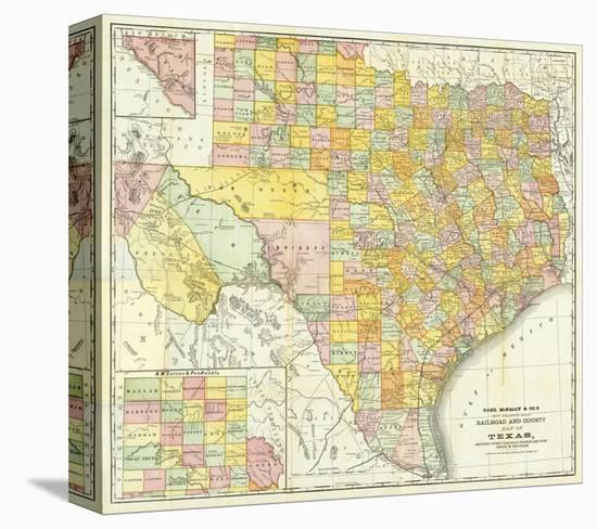 Railroad Map Of Texas.Railroad And County Map Of Texas C 1882 Stretched Canvas Print By Art Com