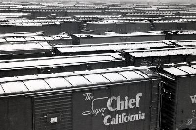 Railroad Boxcars in Rail Yard, Chicago, Illinois, USA, Ca. 1950--Photographic Print