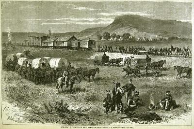 Railroad Building on the Great Plains, from 'Harper's Weekly', 17th July 1875-Alfred R^ Waud-Giclee Print