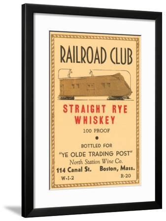 Railroad Club Straight Rye Whiskey--Framed Art Print