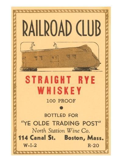 Railroad Club Straight Rye Whiskey--Art Print