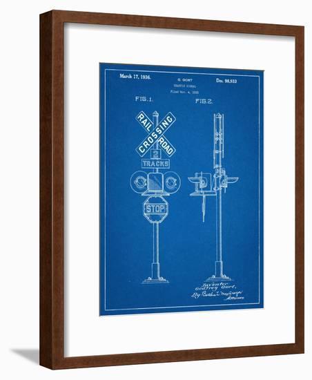 Railroad Crossing Signal Patent-null-Framed Art Print