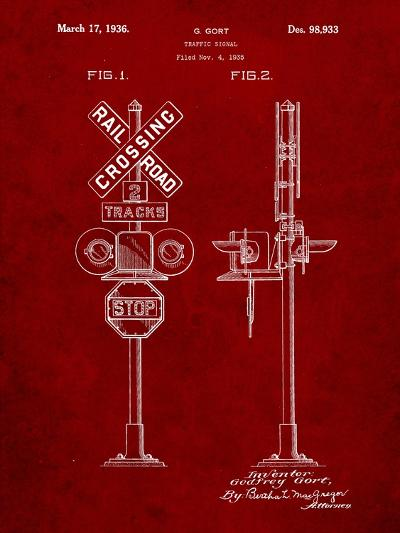 Railroad Crossing Signal Patent-Cole Borders-Art Print