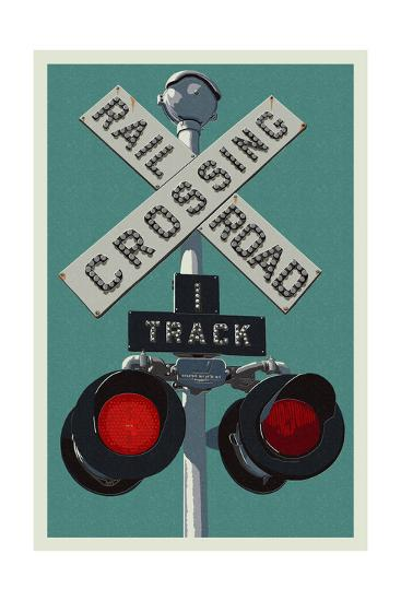 Railroad Crossing-Lantern Press-Art Print