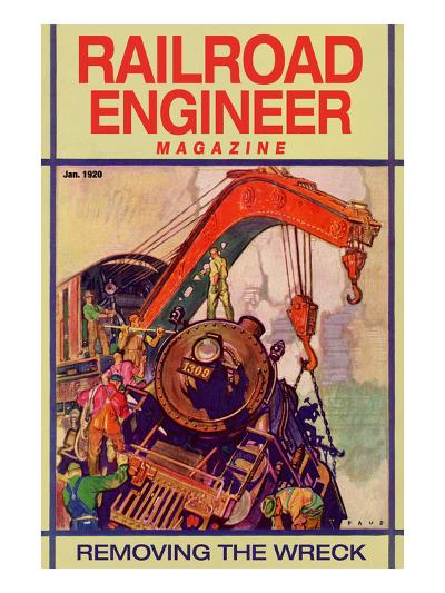 Railroad Engineer Magazine: Removing the Wreck--Art Print