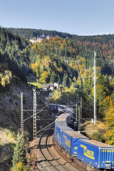 Railroad Line Winds Along a Mountainside, Freight Train, Forest, Scenery, Castle, Houses-Harald Schšn-Photographic Print