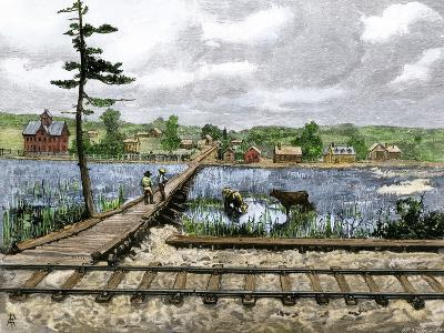 Railroad Stop Near a New Town on the Great Plains, 1880s--Giclee Print