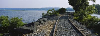 Railroad Track Along a River, Hudson River, Kingston, New York State, USA--Photographic Print