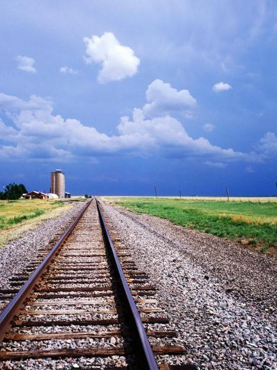 Railroad Tracks and Approaching Thunderstorm, Amarillo, Texas-Holger Leue-Photographic Print