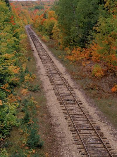 Railroad Tracks Between Autumn Foliage, MI-Don Grall-Photographic Print