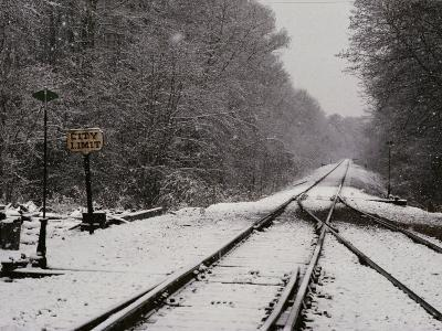 Railroad Tracks in Snow at the Courtland City Limit-Medford Taylor-Photographic Print