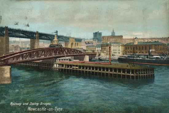 Railway and Swing Bridges, Newcastle-upon-Tyne, c1905-Unknown-Giclee Print