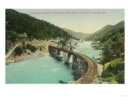 Railway Bridge over Merced River en route to Yosemite - Bagby, CA-Lantern Press-Art Print