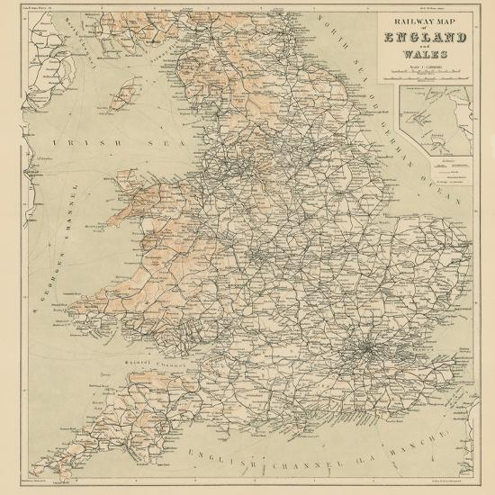 Map Of England Rail.Railway Map Of England And Wales Giclee Print By Art Com