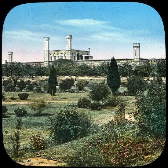 Railway Station, from the Queen's Garden, Delhi, India, Late 19th or Early 20th Century--Giclee Print