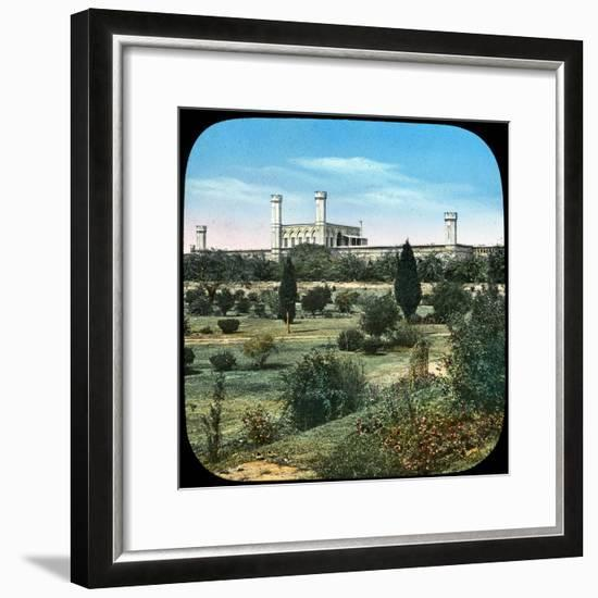 Railway Station, from the Queen's Garden, Delhi, India, Late 19th or Early 20th Century--Framed Giclee Print