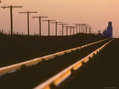 Railway Tracks at Sunset, Kansas-Brimberg & Coulson-Photographic Print