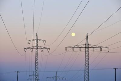 High-Tension Line, Moon, Dusk, Bavaria, Germany by Raimund Linke