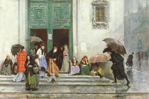 Coming Out of Church, before 1875 by Raimundo de Madrazo Y Garetta